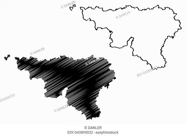 Wallonia (Community and region of Belgium, Kingdom of Belgium) map vector illustration, scribble sketch Wallonia map