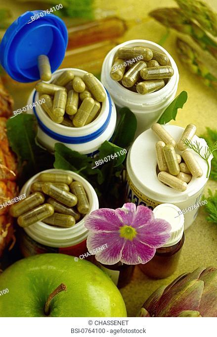 HERBAL MEDICINE<BR>Diet aid, composed of fennel, artichoke, asparagus, pineapple, apple, celery, and dandelion, distributed in gel-caps or vials