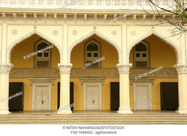 Side Facade of Khilwat Mahal, seat of Nizams in Hyderabad, India. Khilwat Mubarak is where the Nizam, the ruler of Hyderabad