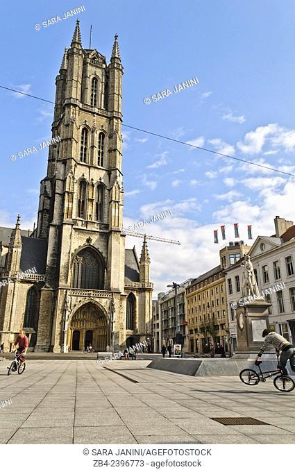 St. Bavo's Cathedral, Sint-Baafsplein Square, Ghent, Belgium, Europe
