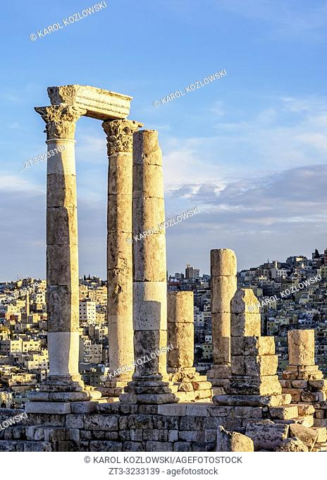 Temple of Hercules Ruins at sunset, Amman Citadel, Amman Governorate, Jordan