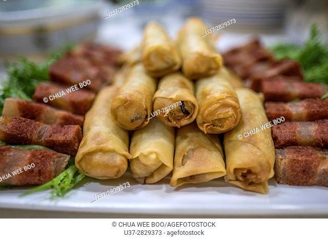 Deep fried vegetarian spring rolls, Kuching, Sarawak, Malaysia