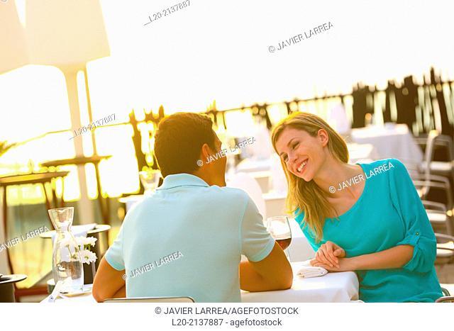 Couple in outdoor restaurant