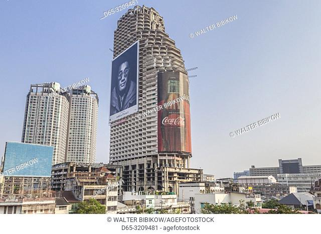 Thailand, Bangkok, Riverside Area, Sathorn Unique Tower, also known as the Ghost Tower, unfinished building since 1997 on Chao Phraya Riverfront