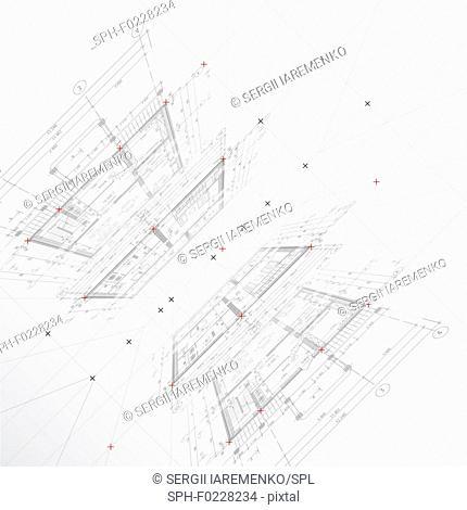Architectural plans, illustration