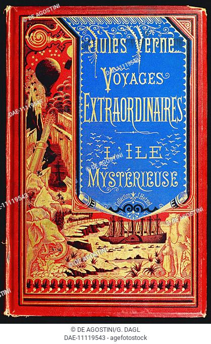 Cover of The Mysterious Island, by Jules Verne (1828-1905), published by Hetzel.  Private Collection