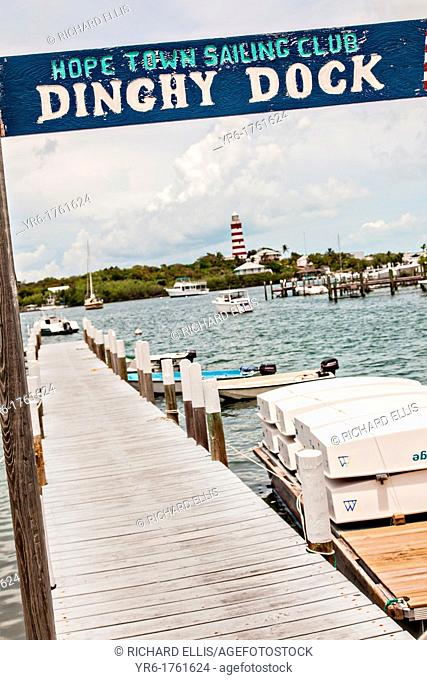 Hope Town lighthouse and harbor Elbow Cay Abacos, Bahamas