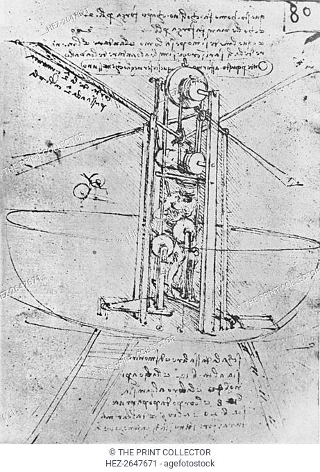 'Drawing of a Flying Machine with a Man Operating It', c1480 (1945). Artist: Leonardo da Vinci