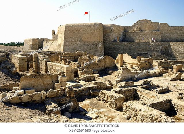 Bahrain Fort dates from 2300 BC Copper and Bronze Ages. Once capital of Dilmun civilization. Excavations on the south side