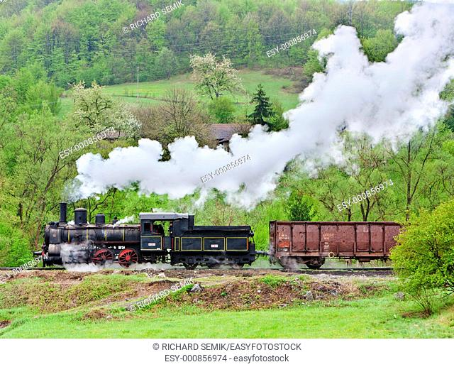 steam freight train 126 014, Resavica, Serbia