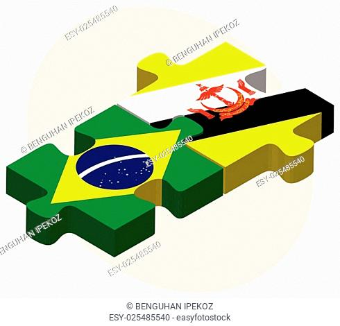 Brazil and Brunei Darussalam Flags in puzzle isolated on white background
