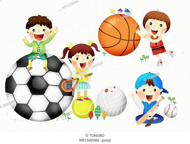 four kids playing with different sports balls