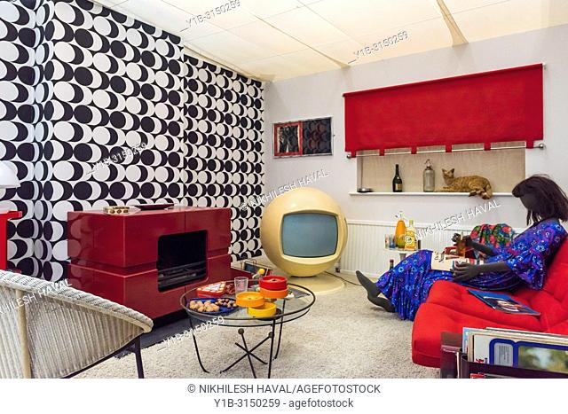 1970's lounge, Milestones Museum, Basingstoke, Hampshire, UK