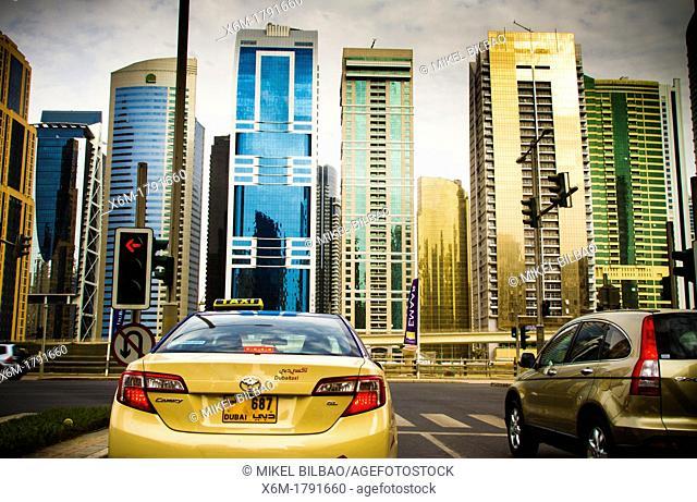 Traffic in Marina area  Dubai city  Dubai  United Arab Emirates