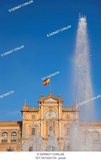 Spain, Seville, Fountain at Plaza De Espana