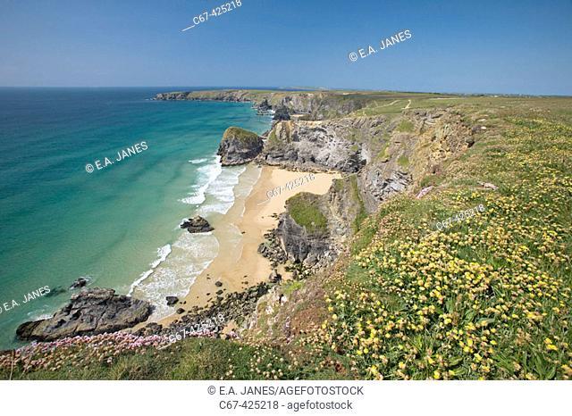Bedruthan steps. North Cornwall. England. United Kingdom