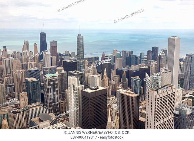 Aerial view of the downtown Chicago cityscape from Willis Tower in Chicago, IL, USA
