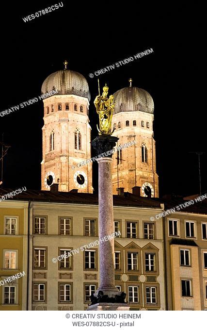 Germany, bavaria, Munich, Statue of Virgin Mary