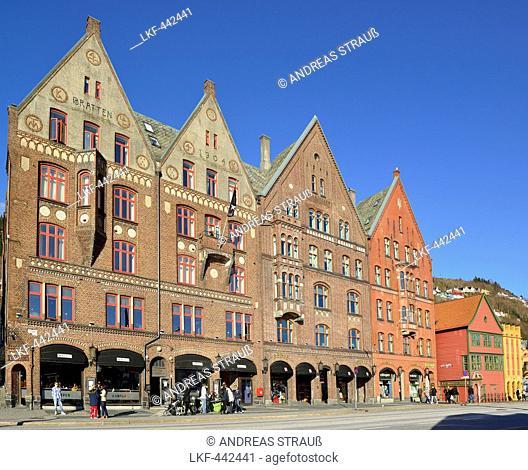 Hanseatic buildings, Bryggen, UNESCO World Heritage Site Bryggen, Bergen, Hordaland, Norway
