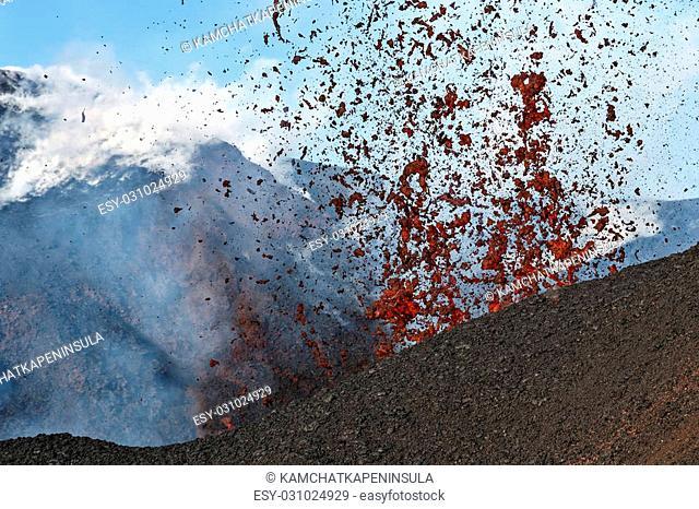 Beautiful mountain landscape of Kamchatka: eruption active Tolbachik Volcano. Russia, Far East, Kamchatka Peninsula