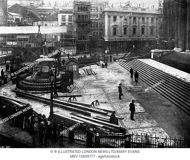 Preparations for the Diamond Jubilee service at St Paul's Cathedral. Viewing platforms are erected for the public to view the arrival of Queen Victoria