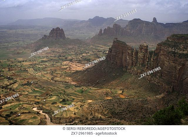 Gheralta mountains, near Hawzen, Eastern Tigray, Ethiopia. View from one of the peaks of the surrounding Gheralta mountains