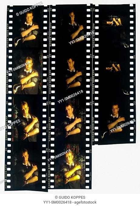 Studio Tuinstraat, Tilburg, Netherlands. Old fashioned contact sheet of analog color positive film, made from an LED Lightbox, using an iPhone SE Mobile Camera
