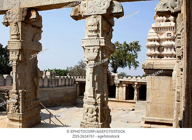View from Kalyan Mantap towards the temple compound. Lepakshi, Anantapur District, Andhra Pradesh, India