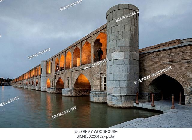 Allahverdi Khan Bridge at Dusk, Isfahan, Iran