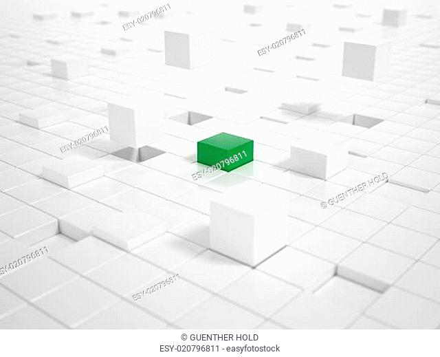 White Cubes and one green Cube building a Platform