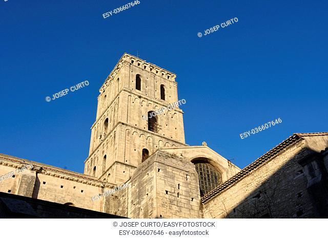 Bell tower of Romanesque Cathedrale Saint-Trophime of Arles, France