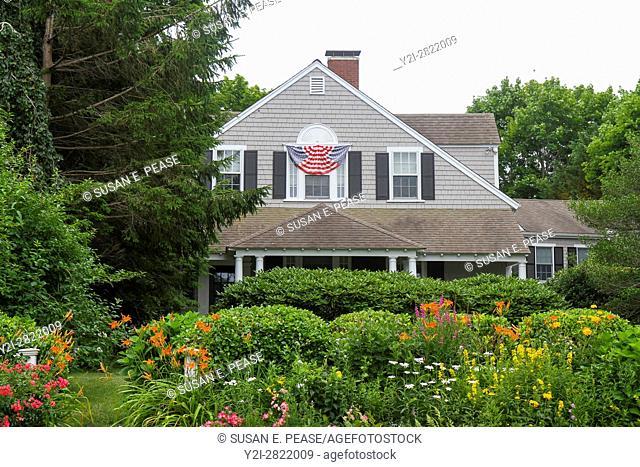 A property participating in the 2016 Hydrangea Festival, Barnstable Village, Cape Cod, Massachusetts, United States, North America