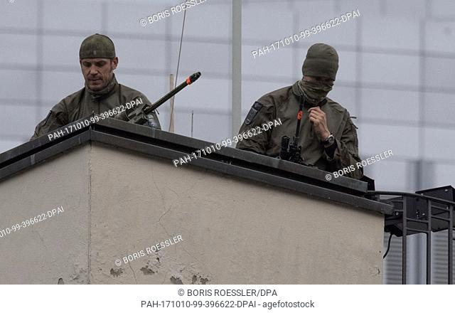 A sniper on a roof during the opening of the Frankfurt Book Fair in Frankfurt am Main, Germany, 10 October 2017. France is this year's official guest nation at...