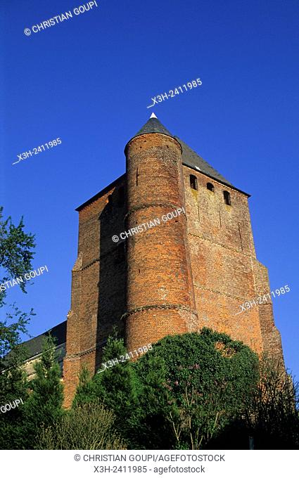 fortified church Saint-Medard at Prisces in the Thierache region, Aisne department, Picardy region, northern France, Europe