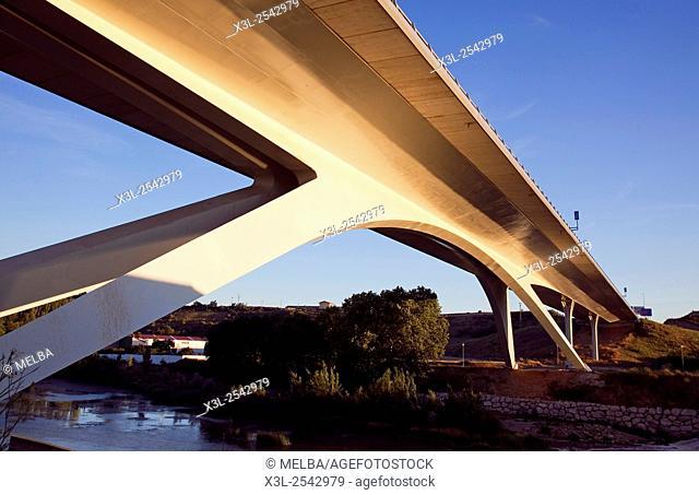 Highway bridge, Puente la Reina - Gares. Navarre. Spain