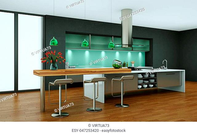 3d Illustration of modern kitchen in a loft with grey walls