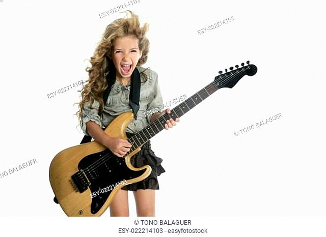 little blond girl playing electric guitar hardcore