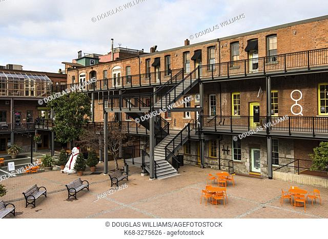 shopping plaza in historic buildings in downtown Victoria, BC, Canada