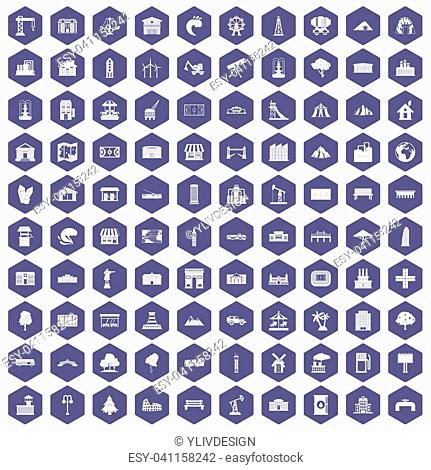 100 landscape element icons set in purple hexagon isolated illustration