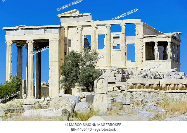Porch of Caryatids, Erechtheion Temple, ionic temple of Athena, Acropolis, Athens, Greece