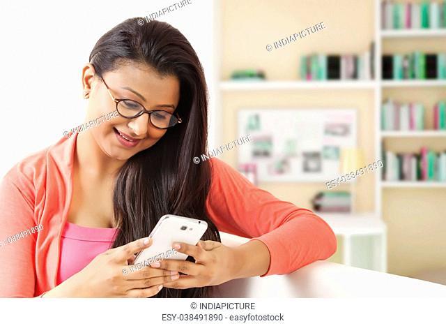 Woman text messaging