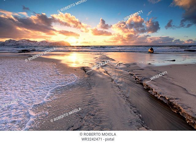 Ice on sand beach, Vikten, Flakstad municipality, Lofoten Islands, Nordland, Norway, Europe
