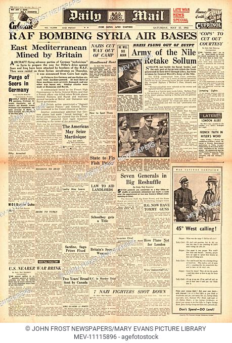 1941 front page Daily Mail RAF bomb air bases in Syria
