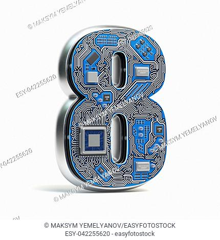 Number 8 eight, Alphabet in circuit board style. Digital hi-tech letter isolated on white. 3d illustration