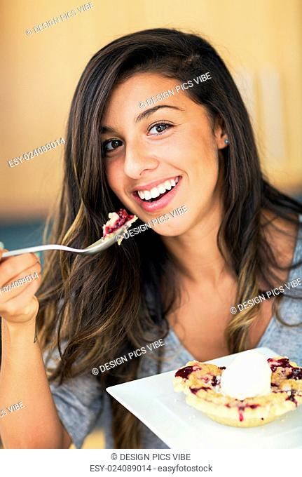 Woman Eating Berry Pie and Ice Cream, Diet Concept