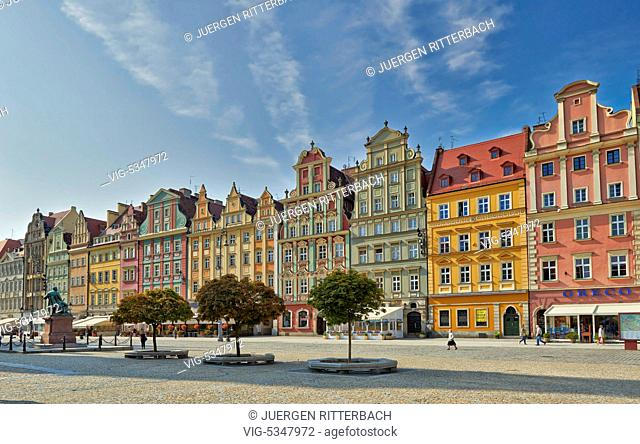 Market Square or Ryneck of Wroclaw, Lower Silesia, Poland, Europe - Wroclaw, Poland, 26/06/2015