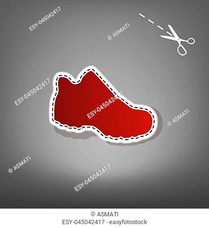 Boot sign. Vector. Red icon with for applique from paper with shadow on gray background with scissors