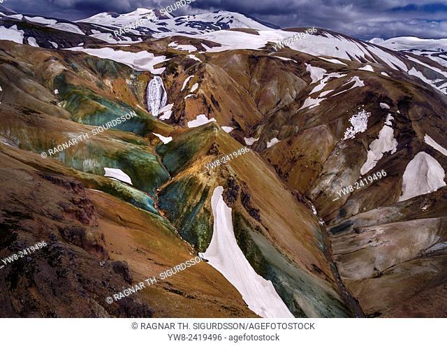 Landmannalaugar, Central Highlands, Iceland. Landmannalaugar is at the edge of Laugahraun lava field, formed in an eruption aprrox. 1477