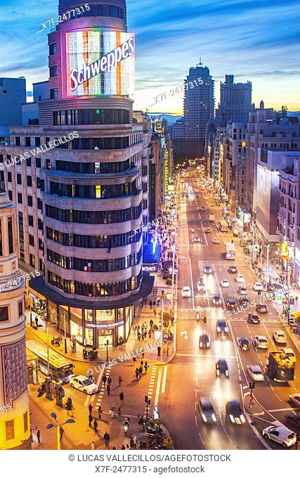 Callao Square and Gran Via Avenue, in the middle Capitol Building. Madrid. Spain