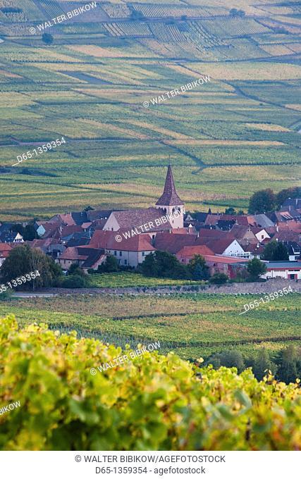 France, Haut-Rhin, Alsace Region, Alasatian Wine Route, Kaysersberg, town view, dawn, autumn